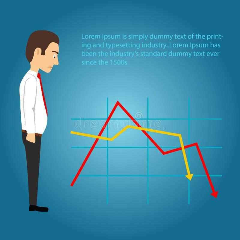 Hombre de negocios triste que mira la carta que cae en el fondo azul Concepto del asunto stock de ilustración