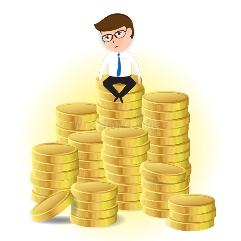 Hombre de negocios triste que se sienta en la pila de oro stock de ilustración