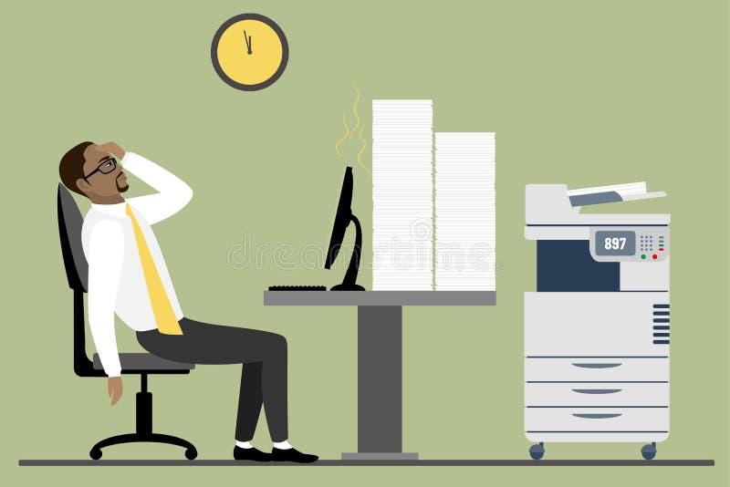 Hombre de negocios u oficinista afroamericano con exceso de trabajo y cansado que se sienta en su escritorio con las carpetas del stock de ilustración