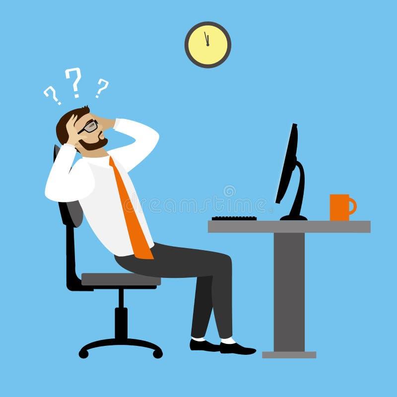 Hombre de negocios u oficinista cansado stock de ilustración