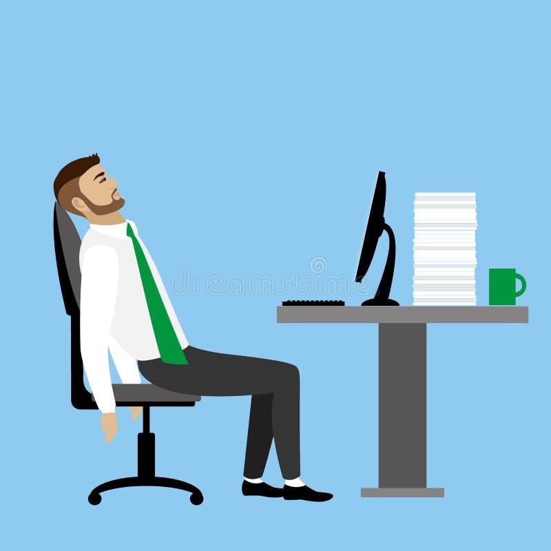 Hombre de negocios u oficinista cansado ilustración del vector