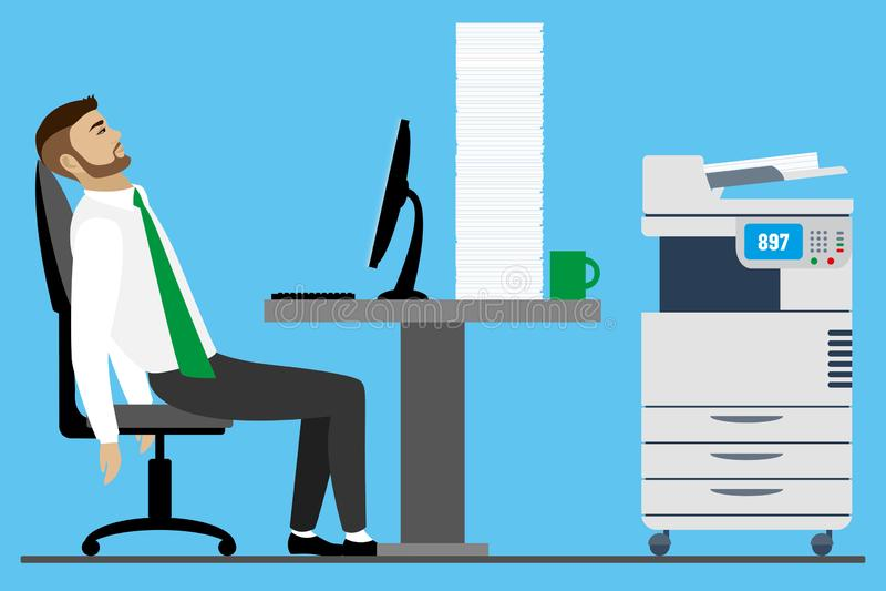 Hombre de negocios u oficinista caucásico con exceso de trabajo y cansado libre illustration