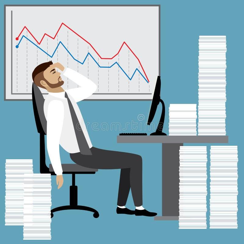 Hombre de negocios u oficinista con exceso de trabajo y cansado libre illustration