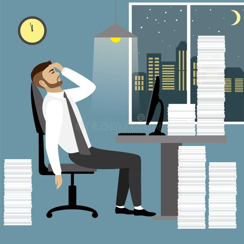 Hombre de negocios u oficinista con exceso de trabajo y cansado stock de ilustración