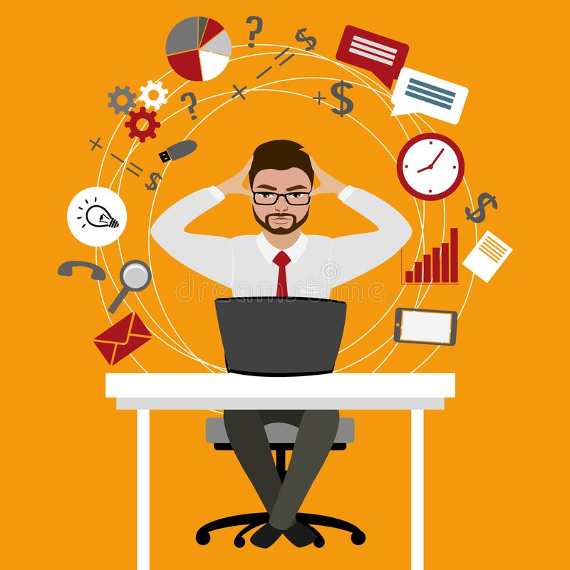 Hombre de negocios u oficinista con exceso de trabajo y cansado que se sienta en el suyo ilustración del vector