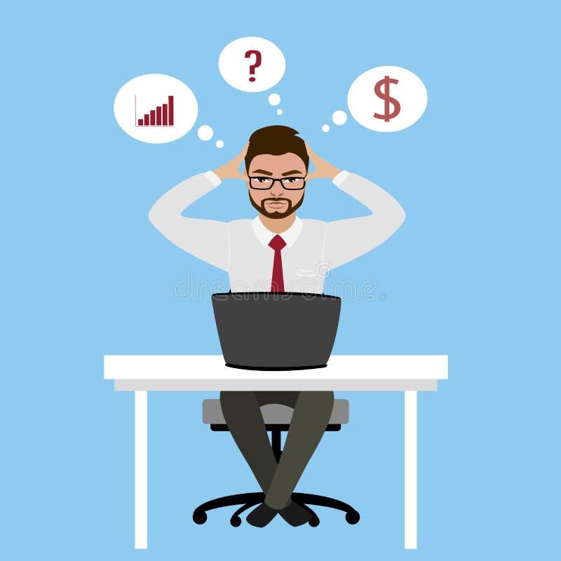 Hombre de negocios u oficinista con exceso de trabajo y cansado que se sienta en el suyo stock de ilustración