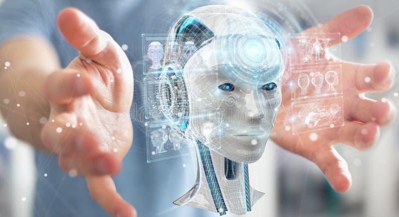 Hombre de negocios usando el interfaz digital 3D r de la inteligencia artificial ilustración del vector