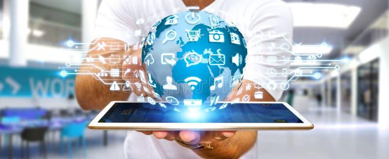 Hombre de negocios usando el mundo digital con los iconos del web ilustración del vector