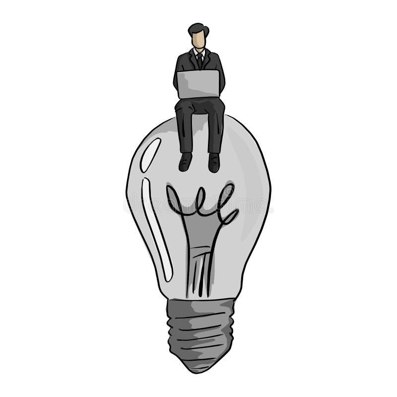 Hombre de negocios usando el ordenador portátil en illustratio grande del vector del bulbo ilustración del vector