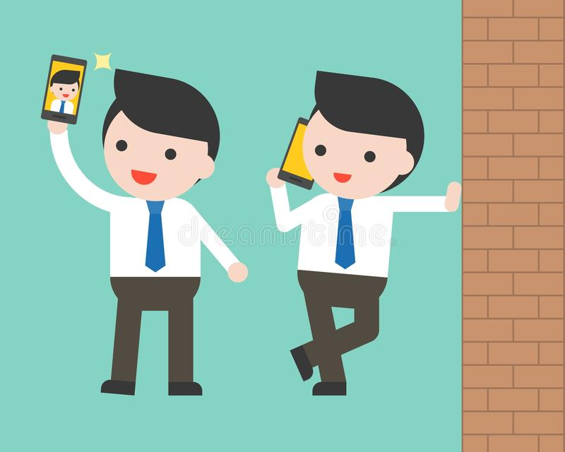 Hombre de negocios usando el selfie y la pared, charac listo para utilizar del teléfono móvil ilustración del vector