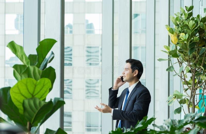 Hombre de negocios usando el teléfono móvil cerca de la ventana de la oficina en las recepciones imagenes de archivo