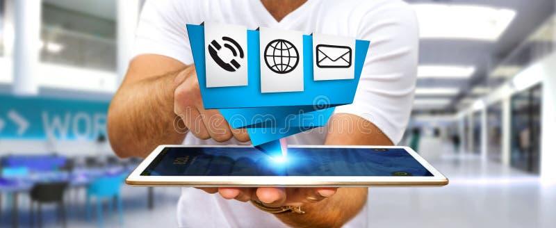 Hombre de negocios usando el uso digital moderno del icono de la papiroflexia en el suyo libre illustration