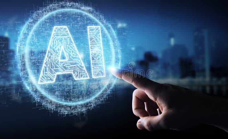 Hombre de negocios usando holograma digital del icono de la inteligencia artificial