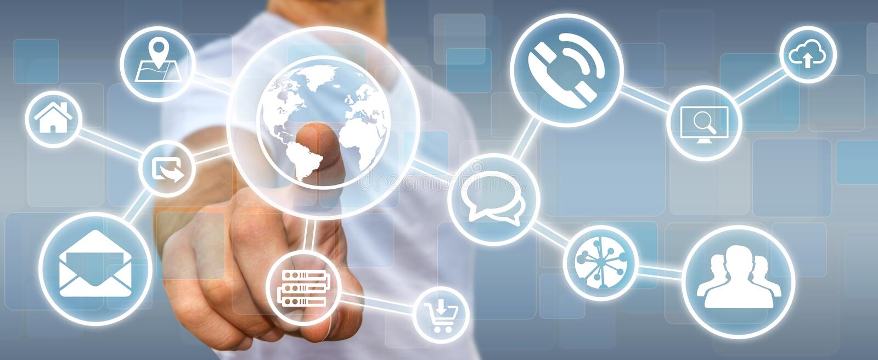 Hombre de negocios usando interfaz táctil digital de la pantalla con el icono del web ilustración del vector