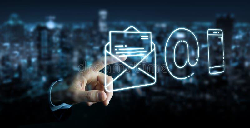 Hombre de negocios usando la línea fina icono del contacto stock de ilustración