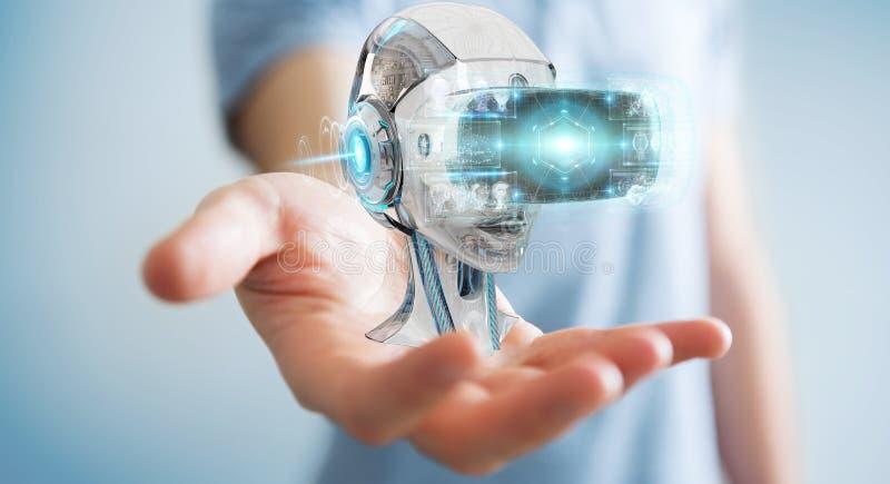 Hombre de negocios usando la realidad virtual y la inteligencia artificial 3D