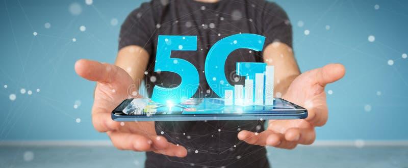 Hombre de negocios usando la red 5G con la representación del teléfono móvil 3D stock de ilustración