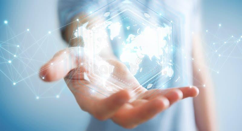 Hombre de negocios usando la representación digital del interfaz 3D del mapa del mundo ilustración del vector