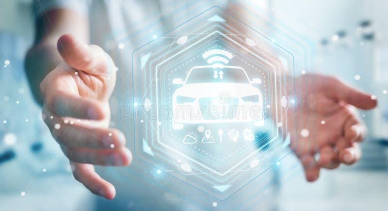 Hombre de negocios usando la representación elegante moderna del interfaz 3D del coche ilustración del vector