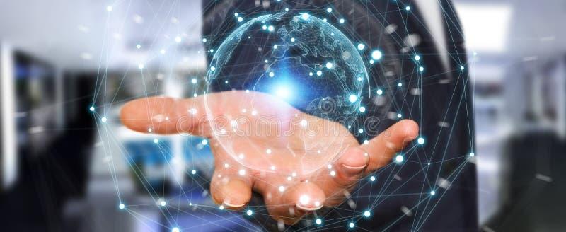 Hombre de negocios usando la representación de la esfera 3D de la red de la tierra del planeta stock de ilustración