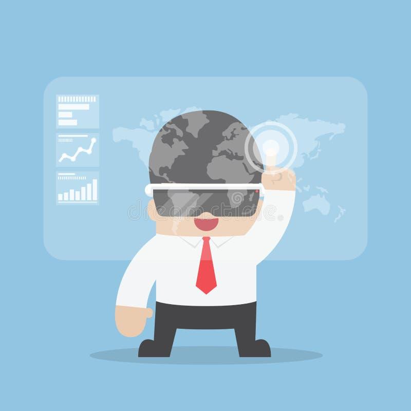 Hombre de negocios usando las auriculares de la realidad virtual o los vidrios de VR stock de ilustración