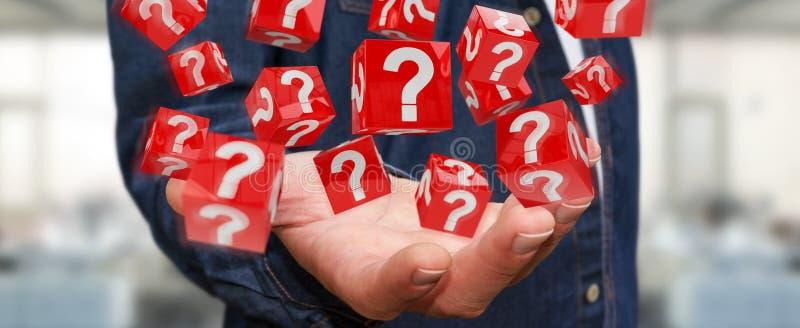Hombre de negocios usando los cubos con los signos de interrogación de la representación 3D libre illustration