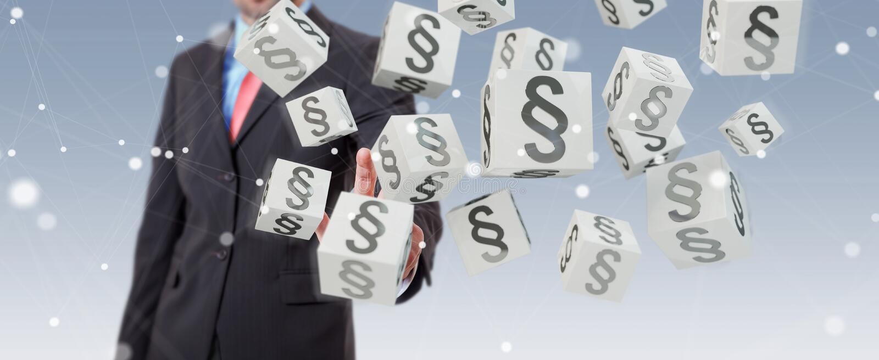Hombre de negocios usando los cubos de la ley de la representación 3D stock de ilustración