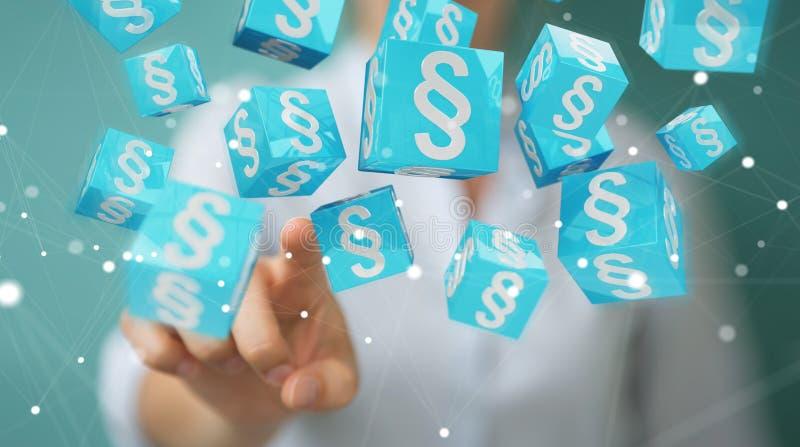 Hombre de negocios usando los cubos de la ley de la representación 3D libre illustration
