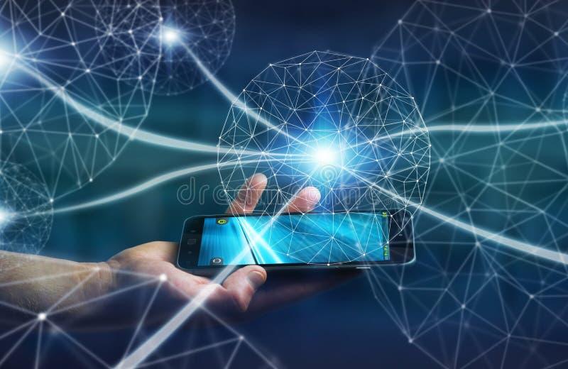 Hombre de negocios usando red de datos con su teléfono móvil ilustración del vector