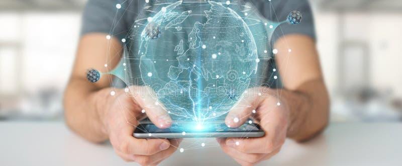 Hombre de negocios usando red del globo con el rende digital de la conexión 3D libre illustration