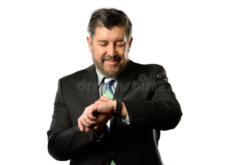 Hombre de negocios Using Smart Watch imagenes de archivo