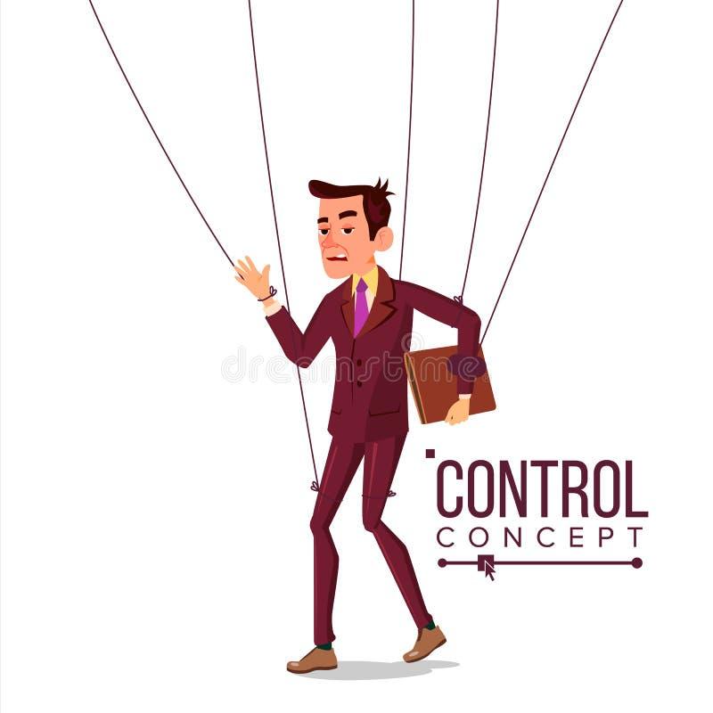 Hombre de negocios Vector de la manipulación Amo y empleado de la marioneta Trabajador en cuerdas Injusto usando Mano grande hist stock de ilustración