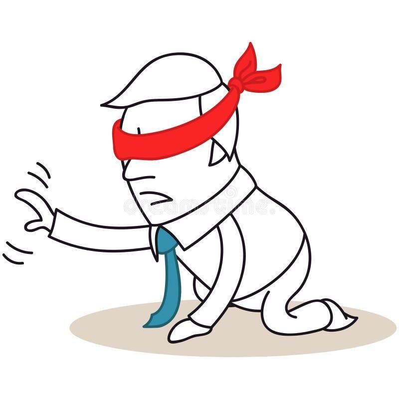 Hombre de negocios vendado los ojos de en sus rodillas libre illustration