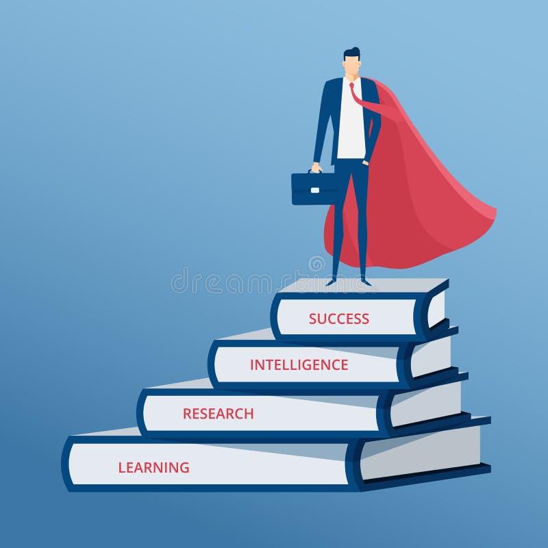 Hombre de negocios vestido como soporte del super héroe encima de la escalera de los libros Paso de la escalera al éxito Escalera ilustración del vector