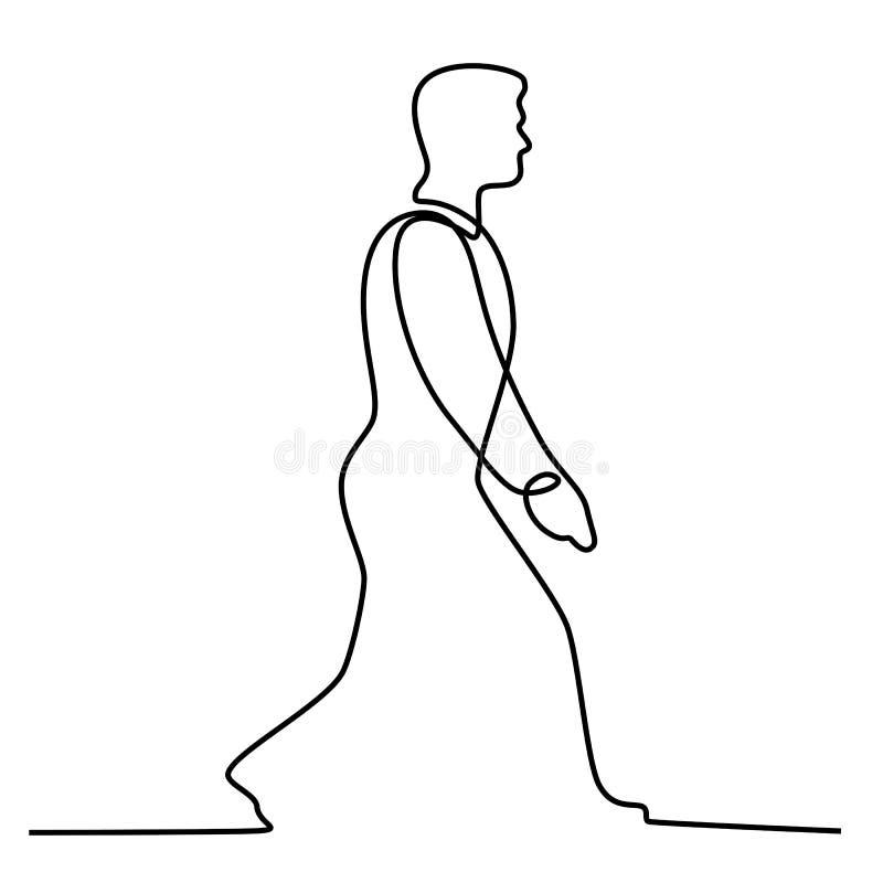 Hombre de negocios Walking Continuous Line libre illustration