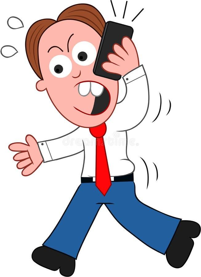 Hombre de negocios Walking de la historieta y enojado en el teléfono ilustración del vector