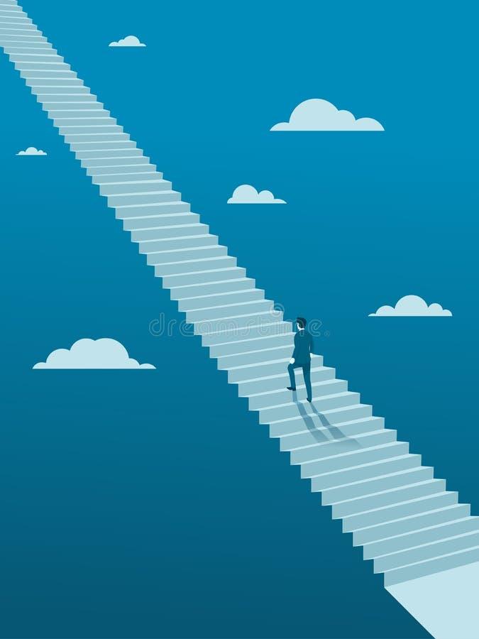 Hombre de negocios Walking para arriba en la escalera sin fin libre illustration
