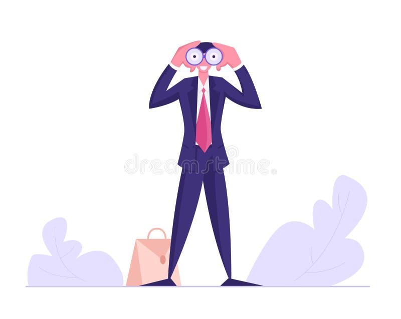 Hombre de negocios Watching a los prismáticos, negocio Vision, empleado del reclutamiento, pronóstico visionario del carácter mas ilustración del vector