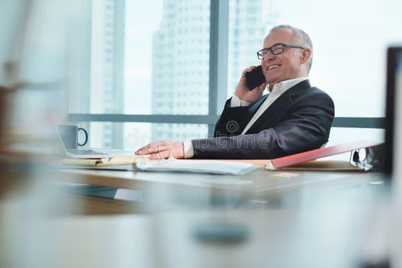 Hombre de negocios Working In Office con el ordenador y el hablar en el teléfono imagenes de archivo
