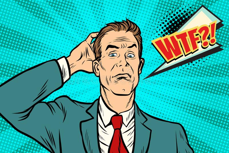 Hombre de negocios de Wtf desconcertado y confundido libre illustration