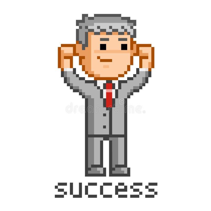 Hombre de negocios y éxito del arte del pixel ilustración del vector