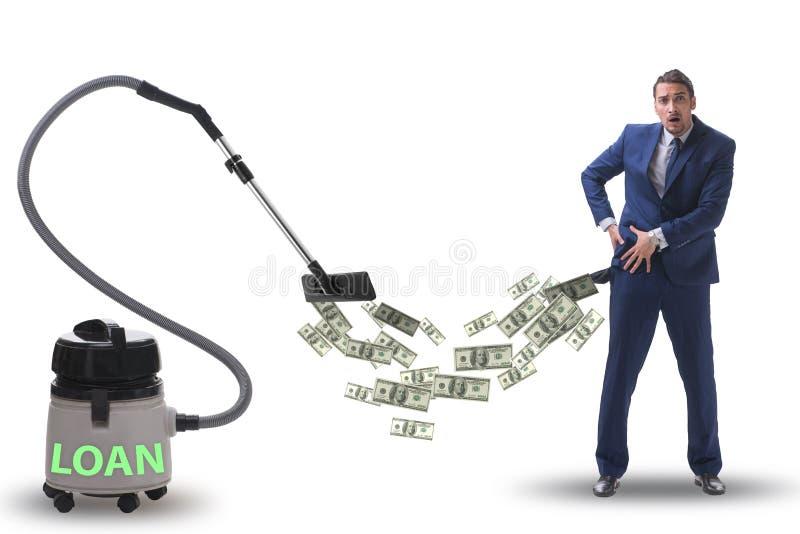 Hombre de negocios y aspirador que chupa el dinero fuera de él imagenes de archivo