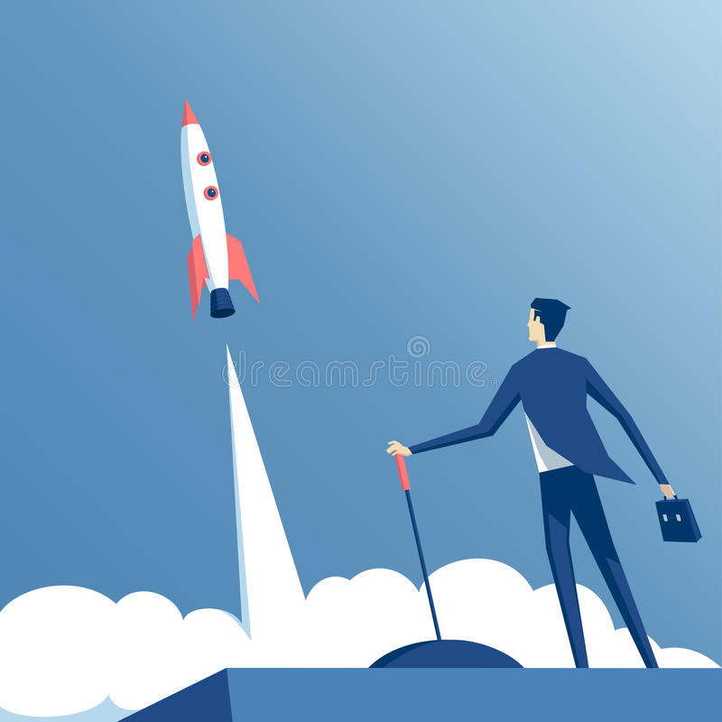 Hombre de negocios y cohete stock de ilustración