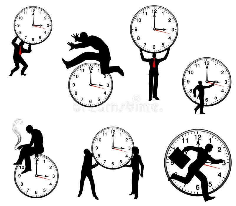 Hombre de negocios y conceptos del tiempo ilustración del vector