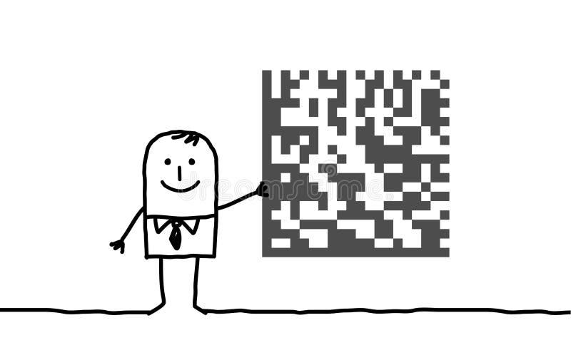 Hombre de negocios y criptograma libre illustration