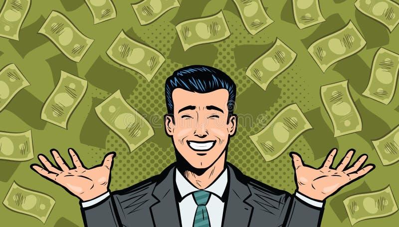 Hombre de negocios y dólares acertados Concepto de la riqueza, el ganar, del éxito o de las ganancias Historieta en estilo cómico libre illustration