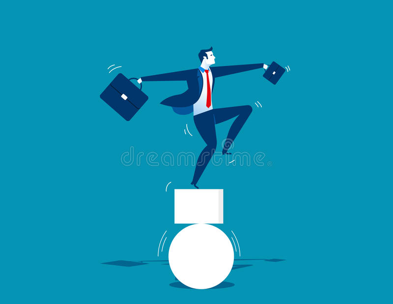 Hombre de negocios y desequilibrado Ejemplo del negocio del concepto ilustración del vector