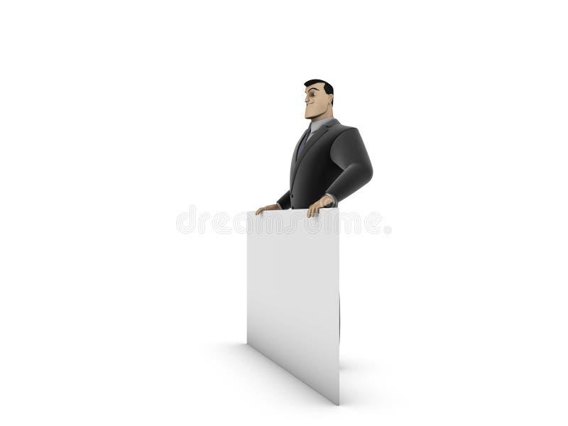 Hombre de negocios y el panel blanco foto de archivo libre de regalías