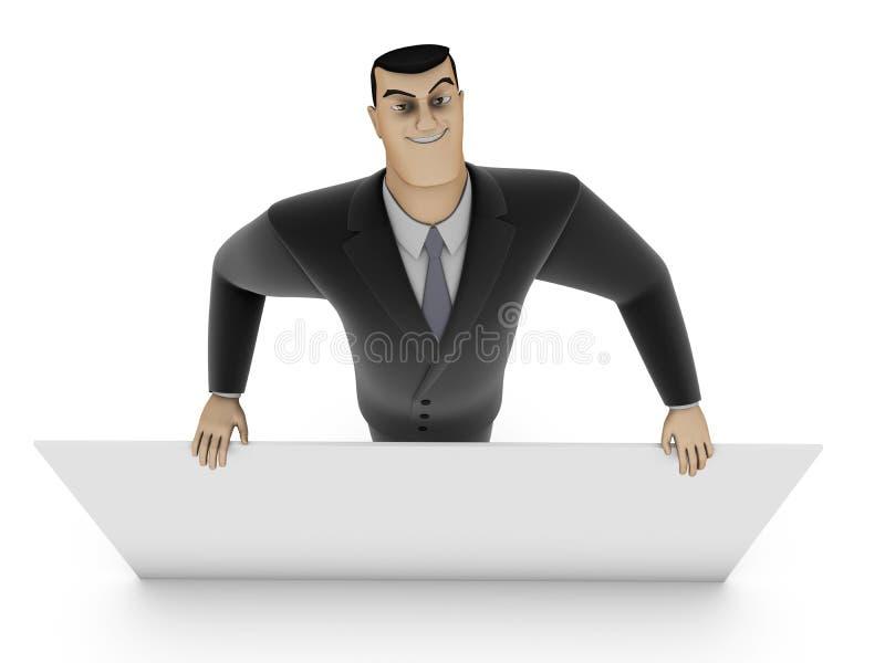 Hombre de negocios y el panel blanco foto de archivo