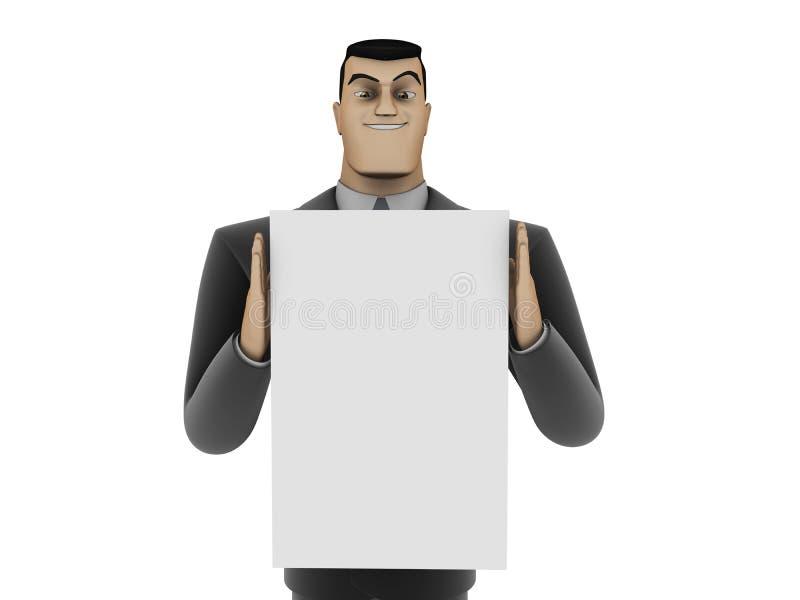 Hombre de negocios y el panel blanco fotos de archivo libres de regalías